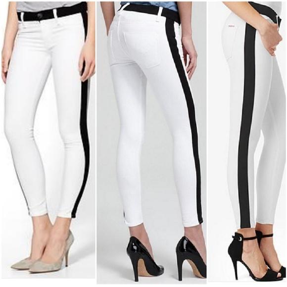 633e4293bad Hudson Jeans Denim - Hudson Leeloo Skinny Tuxedo Stripe Jeans 28 White